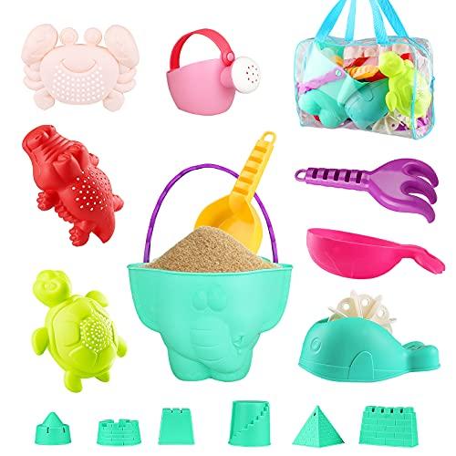 Yojoloin Kinder Junge Mädchen Strandspielzeug Set ,16 Stück Sandspielzeug Sand und Wasser Spielzeug für Kinder,Strandspielzeug Enthält Sandschaufel und Eimer Wasserspielzeug für Badewanne