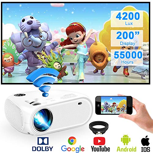 """WiFi Projector,Weton 2020 Upgraded 4200Lux Led Wireless Mini Projector,200"""" Display WiFi Movie Projector,Full HD 1080P Supported Video Projector for iOS Android Smartphones,TV Stick,Laptops,TV Box"""