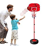 Wishtime - Ensemble de basketball portable et ajustable - avec filet et ballon - Jeu de sport réglable intérieur et extérieur, pour enfants Trois ans et plus