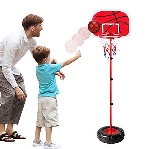 WISHTIME Kinder Einstellbare Basketballständer Basketballkörbe Basketballkorb mit Ständer Höhenverstellbar Basketball Backboard Ständer & Hoop Set Korb Spiel