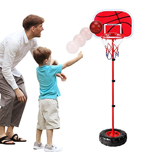 WISHTIME Kids Adjustable Protable Basketball Set TOP17008 Kids Basketball Stand with Net and Ball Outdoor Indoor Adjustable Sport Game Play Set for 3 Years Old and up Toddler Baby Sports