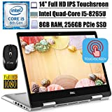 """2020 Flagship Dell Inspiron 14 5000 5482 Convertible 2-in-1 Laptop14"""" FHD IPS Touchscreen Intel 4-Core i5-8265U (Beatsi7-7500U) 8GB DDR4 256GB PCIe SSD Backlit KB Win 10 + iCarp Wireless Mouse"""