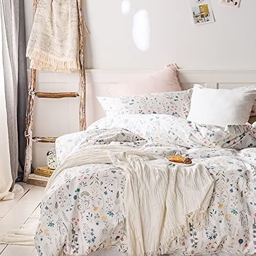 King Duvet Cover Floral, 100% Cotton 3pcs Floral Plant White Bedding Sets, Cute Bright Fresh Designed Blue Flower Plant Pattern with Zipper Closure, Breathable for Girls Women (No Comforter)