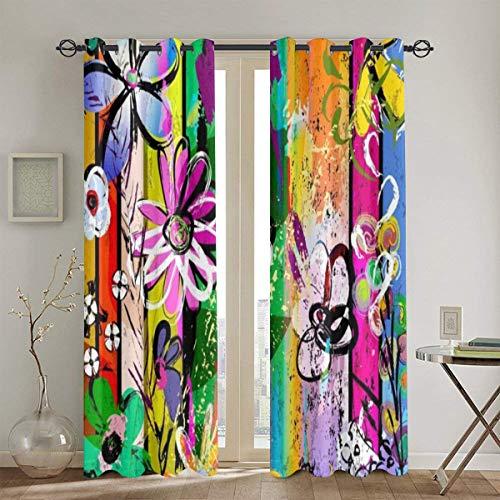 DAOPUDA Juego de 2 paneles de cortinas opacas,Hojas Resumen Trazo Flores Graffiti Líneas Púrpuras Trazos Salpicaduras Blancas Naranja Patrón Arco Iris,cortina de oscurecimiento con aislamiento térmico