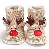 WZHZJ Invierno Hombre Bebé 0-1 Navidad Más Terciopelo Cálido Fondo Suave Antideslizante Zapatos...