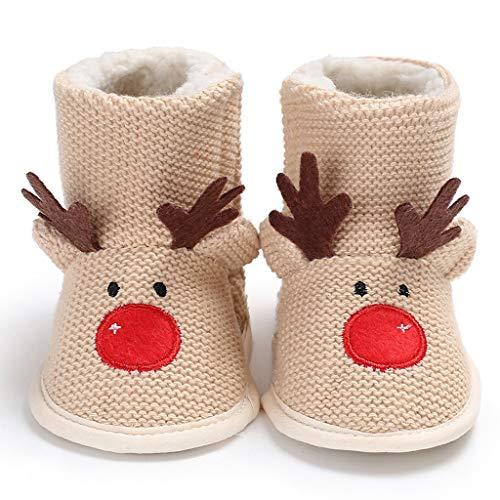 WWWEE Invierno Hombre Bebé 0-1 Navidad Más Terciopelo Cálido Fondo Suave Antideslizante Zapatos para Niños Pequeños (Size : 13-18 Months)