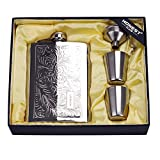 Octaville Stainless quality hip flask 8oz Pocket Engraved Wine Drink Pot Alcohol flagon metal 220ml whiskey flask