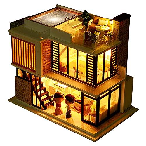 moin moin 1/24 ドールハウス ミニチュア 手作りキット セット 英語説明書 モダン シック 二階建て プール おしゃれ フィレンツェ イタリア | LEDライト + アクリルケース 2108DH283