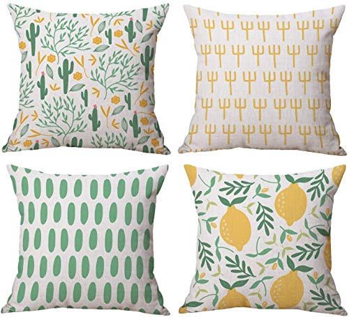 LAXEUYO Pack of 4 Cushion Covers, Creative Cactus Lemons Yellow and Green Pattern Cotton Linen Decorative Throw Pillow Covers Pillow Cases for Sofa 18x18 inches