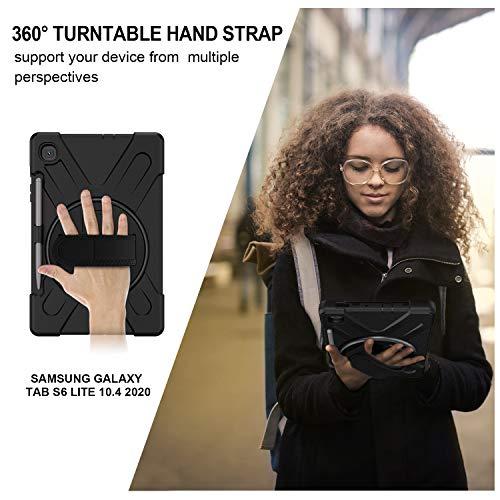 Gerutek Hülle Samsung Galaxy Tab S6 Lite 10.4-Zoll P610/P615, Stoßfeste Robust Panzerhülle mit Stifthalter, Drehbar Stände, Handschlaufe, Schultergurt und Schutzhülle für Samsung Tab S6 Lite, Schwarz