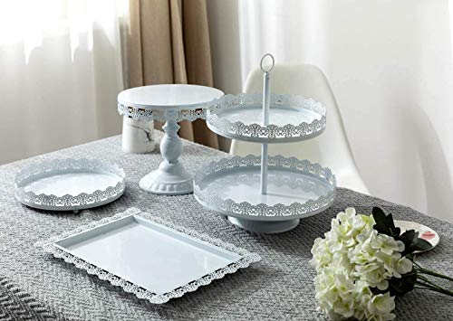 GMWD 4 Set Cake Stand, Metal Cupcake Holder, White Fruits Dessert Display Plate for Wedding Birthday Anniversary Party Home Decor Serving Platter