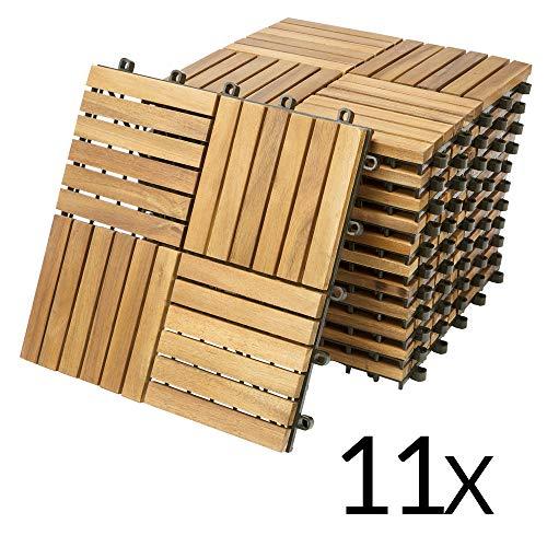 Deuba - Dalles de jardin en bois d'acacia huilé 30 x 30 cm • 11 dalles soit 1m² • clipsable - Terrasse balcon jardin piscine