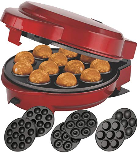 Melissa 16250072 3in1 Donut Muffin und Popcake-Maker 3 auswechselbare Backplatten, Rot Metallic
