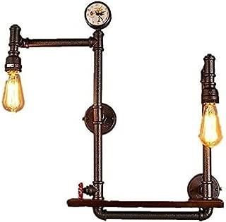 ZWJ-Aplique de Pared Lámparas de pared de hierro de pared de luz, 2 luces LED antiguo industrial del tubo de agua Iluminación decorativa estante de la pared Lámpara colgante de la vendimia Bar Café Pa