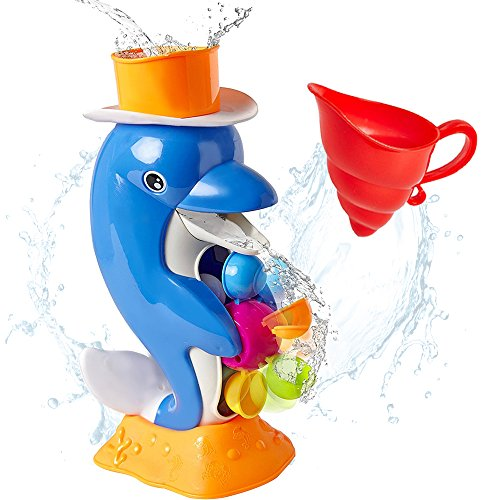 iPlay, iLearn Baby Bath Toy, Shower Bathtub Dolphin Spout, Swimming Pool Water Toy, Interactive Learning Gift for Ages 6, 9, 12, 18 Months Infant, 1, 2, 3 Years Old Baby, Toddlers, Kids, Boys, Girls