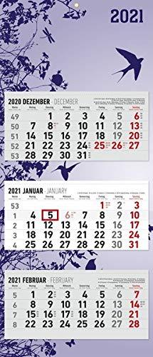 3-Monatskalender Design 2021 - Büro-Kalender 34,5x80 cm (geöffnet) - faltbar - mit Datumsschieber - Alpha Edition