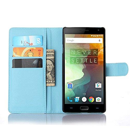 Ycloud Tasche für OnePlus Two Hülle, PU Ledertasche Flip Cover Wallet Hülle Handyhülle mit Stand Function Credit Card Slots Bookstyle Purse Design blau