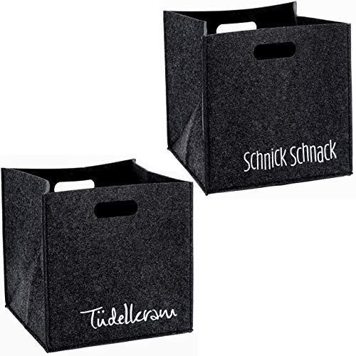 Bada Bing Juego de 2 cestas de fieltro en color antracita con texto en alemán «Antracita», cajas cuadradas, cestas robustas, sistema de estanterías 63