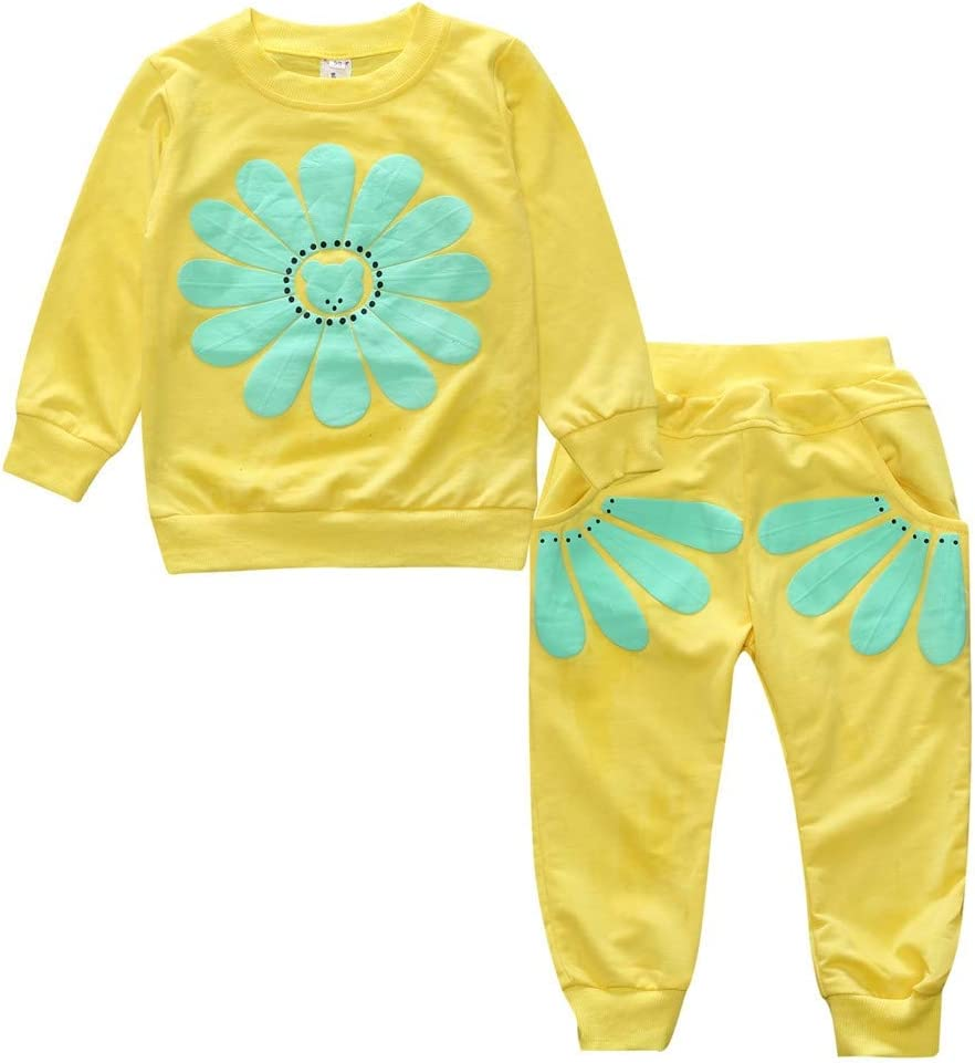 Color : Black JIANGNIUS Spring and Autumn Girls Sun Flower Pattern Long Sleeve Top Rose Red Size:110cm Pants Set