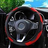 Weforu Funda para volante de coche, transpirable, antideslizante, banda elástica deportiva delgada, sin anillo interior, funda de microfibra de piel (Negro-Rojo)