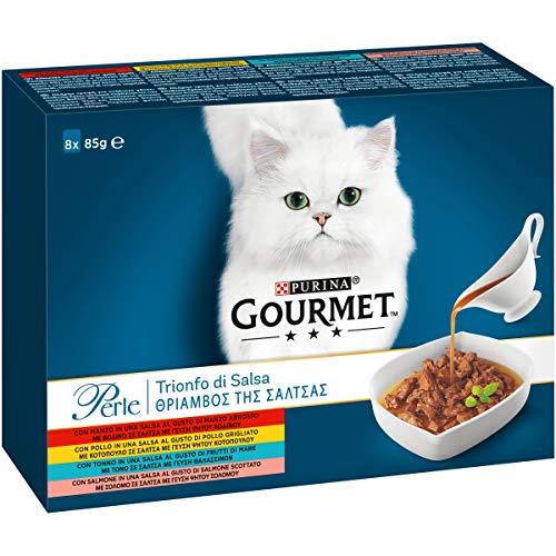 Purina Gourmet Perle Umido Gatto Trionfo di Salsa con Manzo,Pollo,Salmone,Tonno - 80 Buste da 85 g Ciascuna (10 Confezioni da 8 x 85 g)