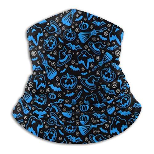 AEMAPE Halloween Muster Blue Ghosts Fledermäuse Kürbisse Besen Unisex Nahtlose Bandanas Hals Gamasche Stirnband Schal