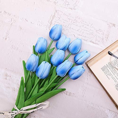 JUSTOYOU 10 Piezas Real Touch Artificial Látex Tulipanes Flores Tulipanes Falsos Flores Ramos de Boda para Boda Hogar Jardín Decoración Azul Claro
