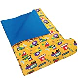 Wildkin Kids Original Sleeping Bag for Boys and Girls, Features Elastic Storage Strap & Storage Bag,Perfect Size for Slumber Parties, Camping & Overnight Travel,BPA-free,Olive Kids(Under Construction)
