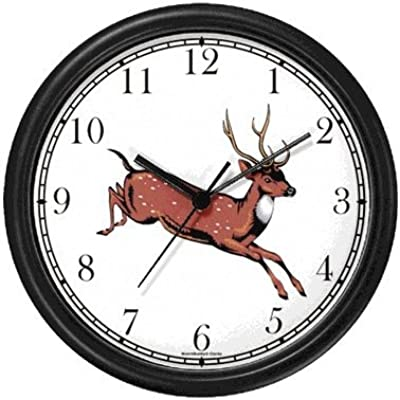 White Tail Deer - Doe - Animal Wall Clock by WatchBuddy Timepieces (Hunter Green Frame