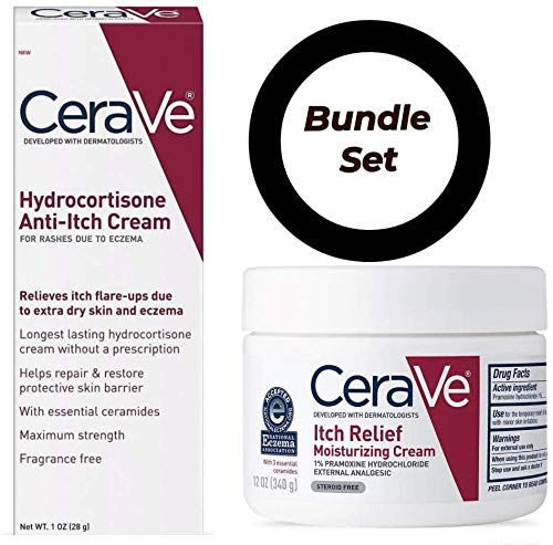 CeraVe Itch Relief Dry Skin Cream 12 Ounce with CeraVe Hydrocortisone Eczema Treatment Cream 1 Ounce - Bundle
