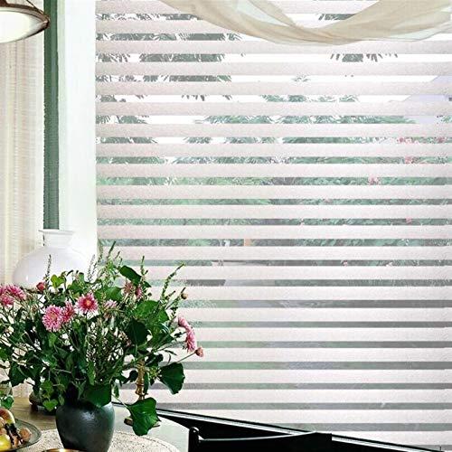 Películas decorativas para ventanas 200 cm de largo a rayas película de vidrio estática de mensajería de protección solar UV de aislamiento y protección de la privacidad de vinilo esmerilado película