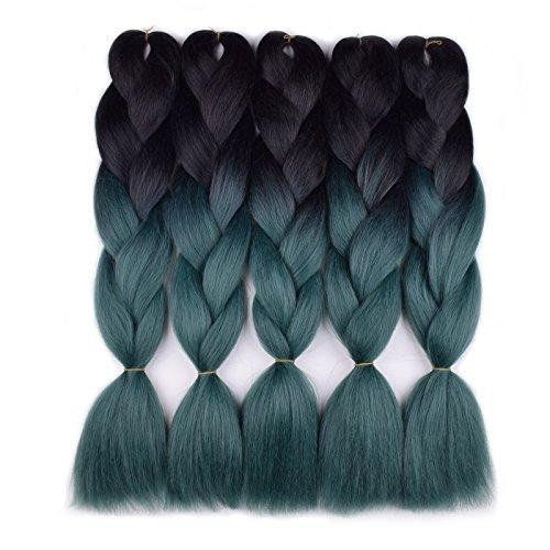 Ombre Braiding Hair Kanekalon 5pcs/lot (Black/Dark Green) Jumbo Braid Hair Extension Ombre Colors Synthetic Hair Extensions for Braiding 24 Inch