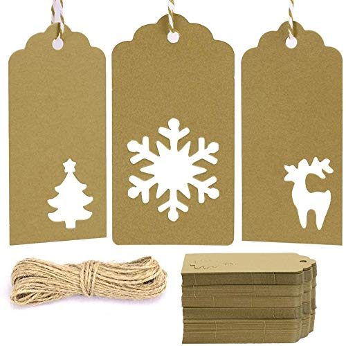 Gift Tags with Holes Present Wrap Tag Paper Small Xmas Gift Tags with Twine Vintage Gift Labels Christmas Tags Bulk 100pcs
