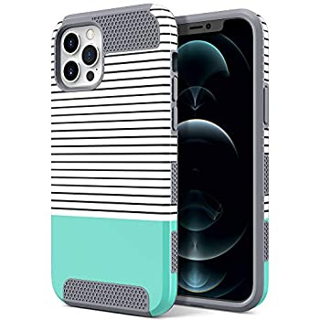 ULAK Compatible with iPhone 12 Pro Max Case 6.7 inch Cute Stylish Girly Pattern Design Slim Fit Hybrid Shock Absorbent Protective Phone Case Cover for Girls Women Mint Stripes
