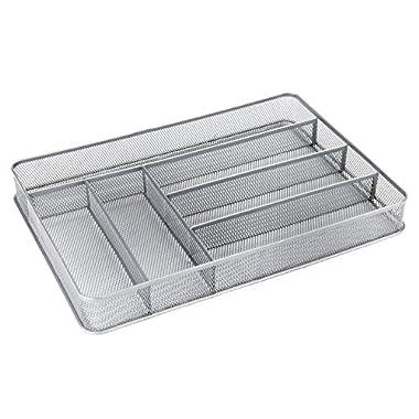 6 Compartment Metal Mesh Kitchen Utensil Drawer Organizer Insert, Cutlery Storage Tray, Silver