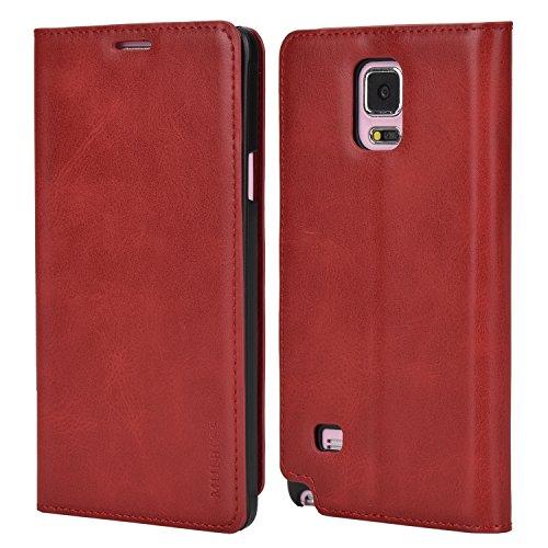 Mulbess Handyhülle für Samsung Galaxy Note 4 Hülle Leder, Samsung Galaxy Note 4 Handy Hüllen, Slim Flip Handytasche Schutzhülle für Samsung Galaxy Note 4 Case, Wein Rot