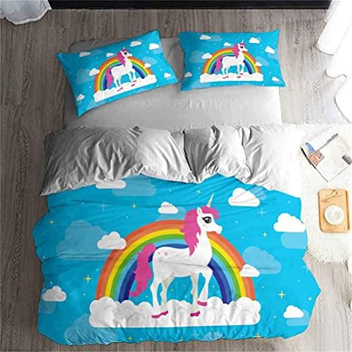 RILLATEK Juego de ropa de cama con diseño de unicornio, color rosa, morado y morado