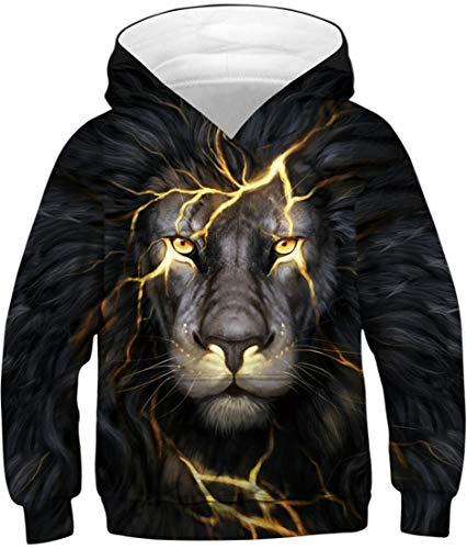 EUDOLAH Jungen Sweatshirts für 4-13 Alter Kinder Langarm 3D Druck Mehrfarbig Bunt Kids Herbst Winter Hemd mit Kaputzen A-A-Lion Blitz XS