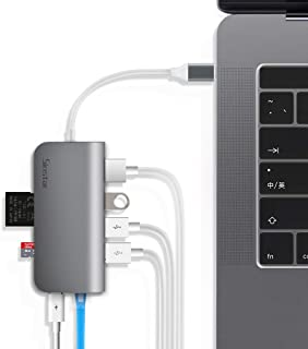 USB C Hub, Sinstar 8 in 1 Aluminum Multi Port Adapter Type C Combo Hub for MacBook Pro USB C Hub to HDMI Male (4K) Type-C Pass Through, Ethernet, SD/Micro Card Reader and 3 USB 3.0 Ports (Space Gray)