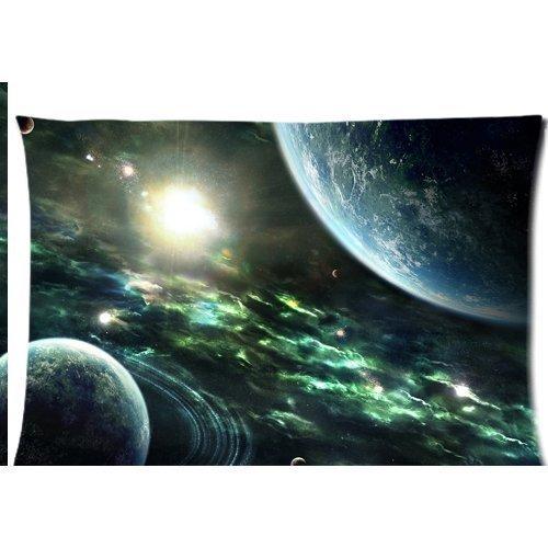 Espace nébuleuse Univers Galaxy Terre Lune Planète étoiles Housse d'oreiller zippée 50,8 x 76,2 cm