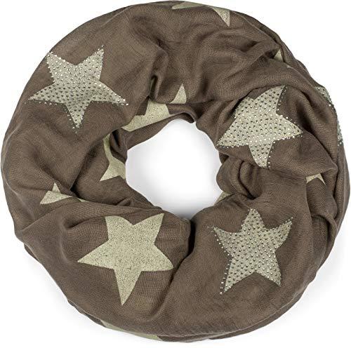 styleBREAKER Loop Schal mit Sterne Muster und edler Strass Applikation, Schlauchschal, Tuch, Damen 01018086, Farbe:Braun-Beige