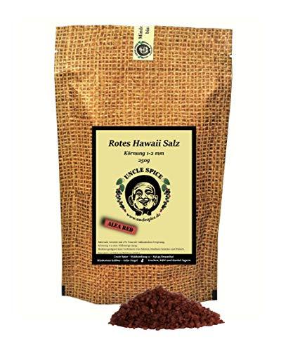 Uncle Spice Hawaii Salz rot - 250g rotes Hawaiisalz - Premiumqualität - rotes Meersalz aus Hawaii - Alea Red Hawaiian Salt - Perfekt zur Dekoration
