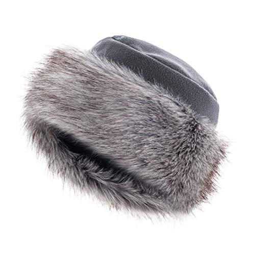 Futrzane Mütze Fellmütze Vlies Pelzmütze Wintermütze Damenmütze (S, Dunkelgrau - Silber)