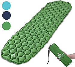 HIKENTURE Unisex Adult hiken02 Small pack size Ultralight Inflatable Sleeping Pad for camping, travel, outdoor, hiking, beach, green without pillows, 1