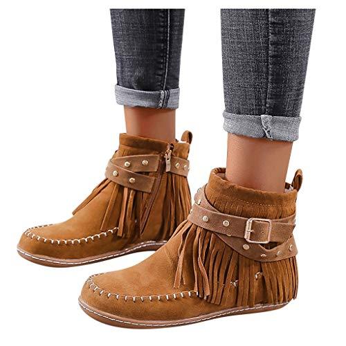 ZBYY Women's Fashion Flat Heel Calf Boots Tassel Suede Side Zipper Ankle Booties Round Toe Short Booties Walking Boots Brown