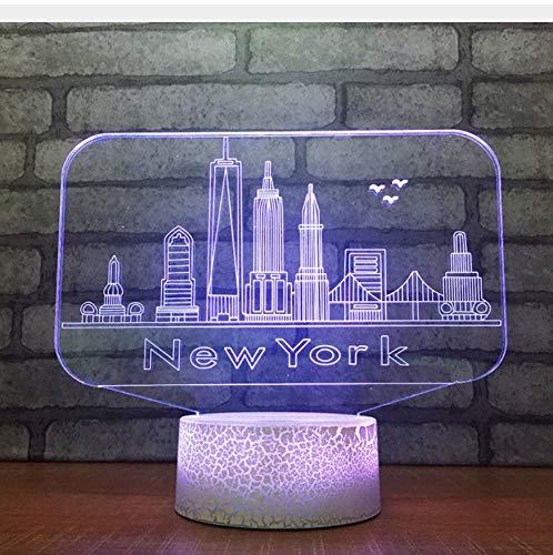 3D Veilleuses 3D Usb 7 Changement De Couleur Nouveauté Toucher Bouton Lampe De Table De Bureau New York City Bâtiments Modélisation Led Ambiance Nuit Lumière Cadeaux