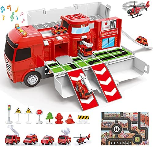 Construction Truck Toys and Play Mat | Multifunction Scenestorage Truck with Sounds and Lights | Die-cast Vehicle Car Toys Set | Birthday Gift Toys for Boys 3,4,5,6,7 Year Olds