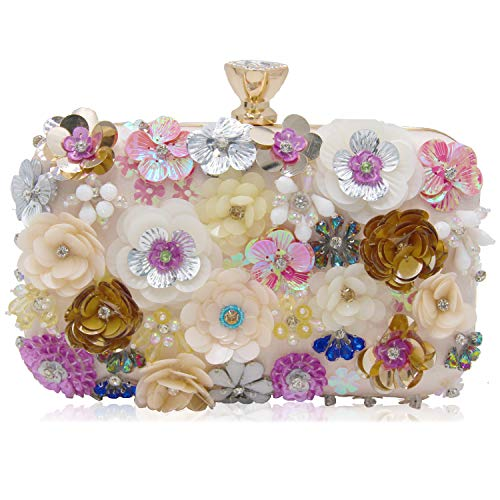 Milisente Clutch Purses For Women Elegant Bridal Floral Evening Clutch Bag With Crystals For Wedding And Party