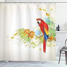 ABAKUHAUS Loro Cortina de Baño, Parrot Tree Branch Flora, Material Resistente al Agua Durable Estampa Digital, 175 x 180 cm, Crema Verde Rojo