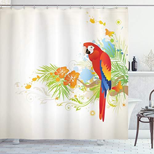 ABAKUHAUS Sommer Duschvorhang, Papagei AST Flora, mit 12 Ringe Set Wasserdicht Stielvoll Modern Farbfest & Schimmel Resistent, 175x180 cm, Creme Grün Rot
